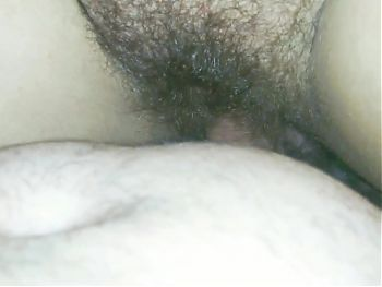 Creampie on my wifes hairy pussy in close-up