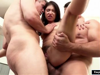 Petite babe face fucked then double penetrated by 2 big cocks